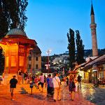 "Der berühmte Brunnen ""Sebilj"" in Sarajevos Altstadt."