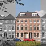 Twee woongebouwen met ieder drie appartementen