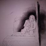 I. Ohne Titel (Tinte und Kohle auf Papier, A3)