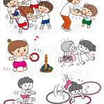 ナツメ社「0〜5歳児の発達に合った楽しい!運動あそび」表紙&中面イラスト