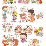 ナツメ社「0〜6歳はじめての女の子の育児」中面イラスト