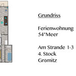 Grundriss der Wohnung 54 Grad Meer