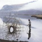 Goldsworthy, Calme au petit matin tiges de polygonum poussées au fond du lac forme achevée par son reflet