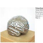 Philippe Ramette, Cerveau réfléchissant, bronze chromé, solcle en bois, 31x47x30 cm, 2003.