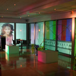 Calage des projections video sur les baies vitrées...