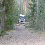 Unser einsamer Waldparkplatz irgendwo im Nirgendwo