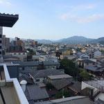 Tolle Aussicht auf Kyoto von der Dachterrasse des Hostels