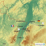 Unsere Anreise nach Obernai im Elsass -  Département Bas-Rhin