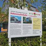 Infotafeln in Wäschenbeuren erzählen Interessantes zur Geschichte der Bahn, des Radwegs und des Ortes