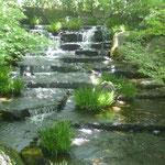 Wasserläufe, Koi-Teiche, akkurat gestutzte Bäume und blühende Sträucher