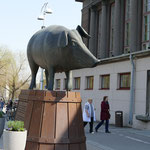 Das Schwein vor der Markthalle Tartus
