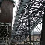 Der gigantische Schrägaufzug beförderte die Rohstoffe hinauf auf die Gichtbühne