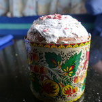 Leckeren Osterkuchen - eine Art Panettone aus Hefeteig mit Gewürzen