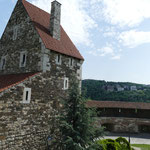Über die Befestigungsanlagen des Burgbergs geht es wieder hinunter an die Donau