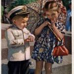 Серьезная беседа. Фото Е.Мичуриной 1955