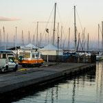 unser Stellplatz im Hafen