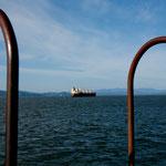 Riesige Ozeandampfer fahren den Columbia hoch