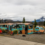Die alten Busse als Restaurant arrangiert...