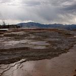 Mammoth Hot Springs - leider bewölkt und Regen