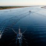Fischer auf dem Weg in den Pazifik