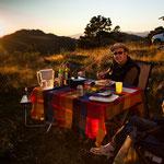 ....in dieser traumhaften Landschaft haben wir sogar eine Tischdecke aufgelegt.