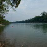 """Der """"Rio Lacanja"""" hier in der Trockenzeit - in der Regenzeit führt er 3mal soviel Wasser"""