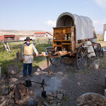"""....hier ein """"buck-waggon"""" als Versorgungswagen der Cowboys"""