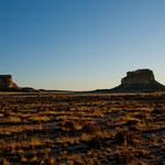 Sonnenuntergang am Chaco Canyon - von unserem Übernachtungsplatz aus gesehen