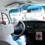 Unser Taxi - natürlich ein VW-Käfer - ohne Vordersitz