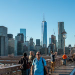 ...Blick von der alten Brooklyn Bridge auf das neuen Manhatten...