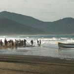 ...die Fischer arbeiten im Kollektiv - man braucht viele und starke Arme um das Netz an Land zu ziehen...