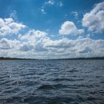 Die Laguna vor dem Lamanai Tempel - eine wichtige Wasserresource der Mayas