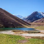 ...die kleine Laguna gespeist vom Gletscher des Aconcagua...