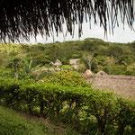 Blick auf die Dorfhütten....