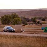 ....wie hier früh am Morgen auf unserem Campground