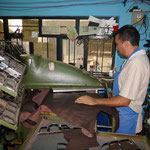 The pictures show the production process of shoe making