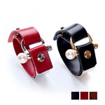 METAL PLATE LEATHER BANGLE  GOLD/SILVER     black/brown/red (¥ 20,520)  yoko kitagawa 05th collection