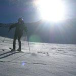 mit der Sonne im Rücken für die momentane Schneelage gut
