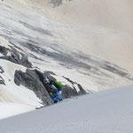 Abfahrt vom Gipfel weg
