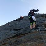 Der Abstieg ohne Probleme, die Steine Eisfrei