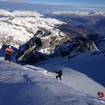 die letzten Höhenmeter, welche ohne Probleme mit Skiern gemacht werden konnten