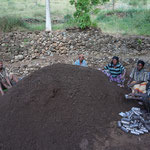 The Konso nursery staff prepares the soil for the pots.