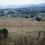 津波の被害にあった地区。