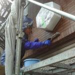 タイル薬品洗浄-薬品塗布