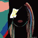 Femme et fleur / Noir