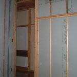 既存新壁への断熱工事