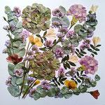 Eucalipto, hortensias, claveles, arrayán. Cuadrado 50x50cm.