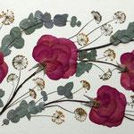 Rosas fucsias, gamonita y eucalipto. Apaisado 75x35cm.