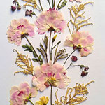 Peonías rosas, astilbe. Eje central para vertical o apaisado 50x100cm.