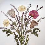 Ramo de novia forma de Jarrón, con proteas, dalias y rosa. 68x58cm.